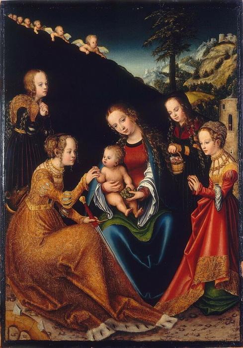 Лукас Кранах. Обручение Святой Екатерины
