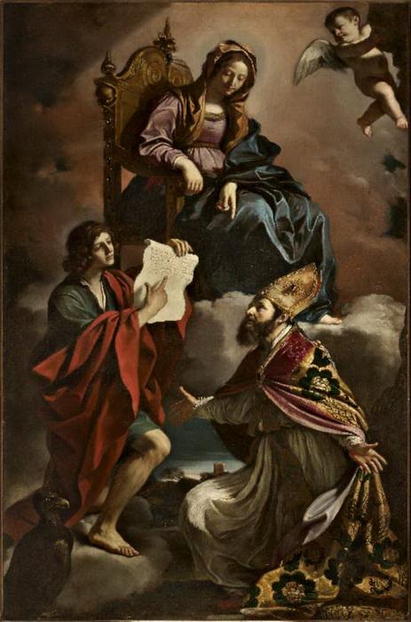 Гверчино. Мадонна со святыми Иоанном Богословом и Григорием Чудотворцем. Эта картина была украдена в 2014 году из церкви в Сан-Виченцо в Модене и возвращена через три года