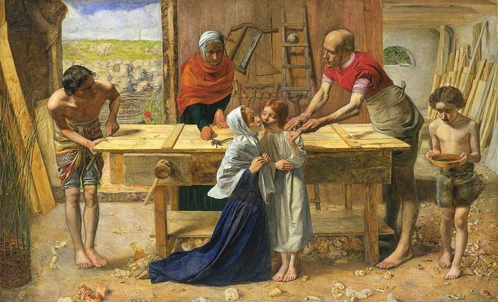 Святое семейство Милле изобразил в простой обстановке плотницкой мастерской