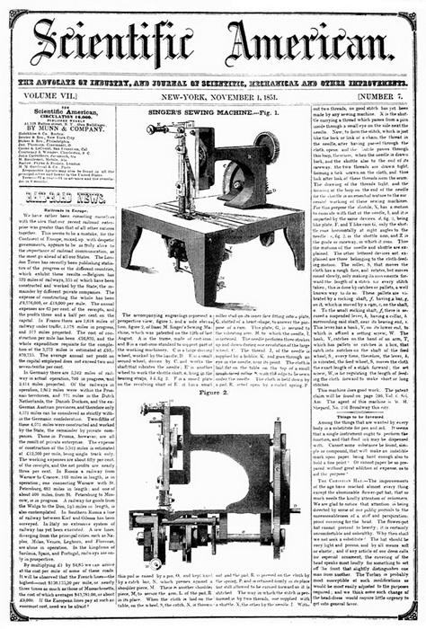 Газетная статья 1851 года о машинке «Зингер»