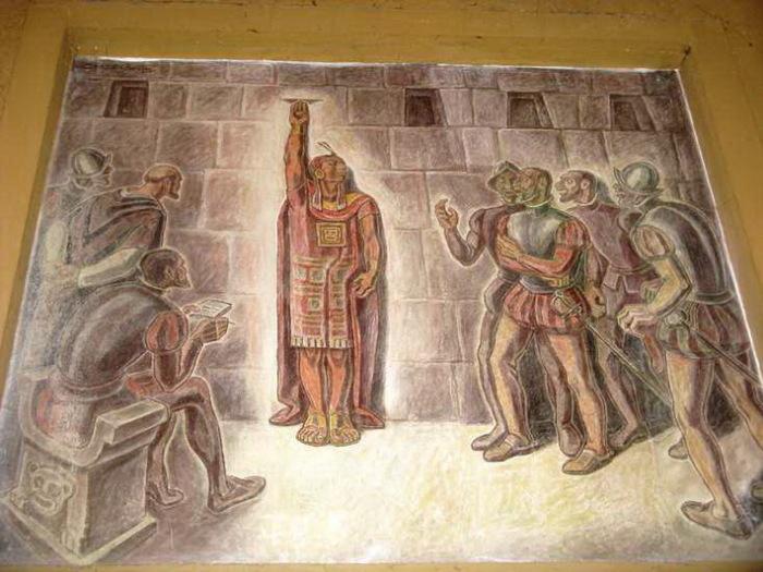 Фреска с изображением Атауальпы в Кахамарке, Перу