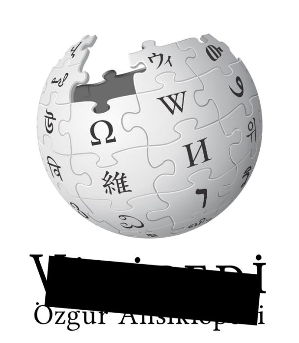 Так выглядел логотип турецкого раздела «Википедии» после блокировки ресурса Турцией в 2017 году. Черный прямоугольный знак символизировал цензуру