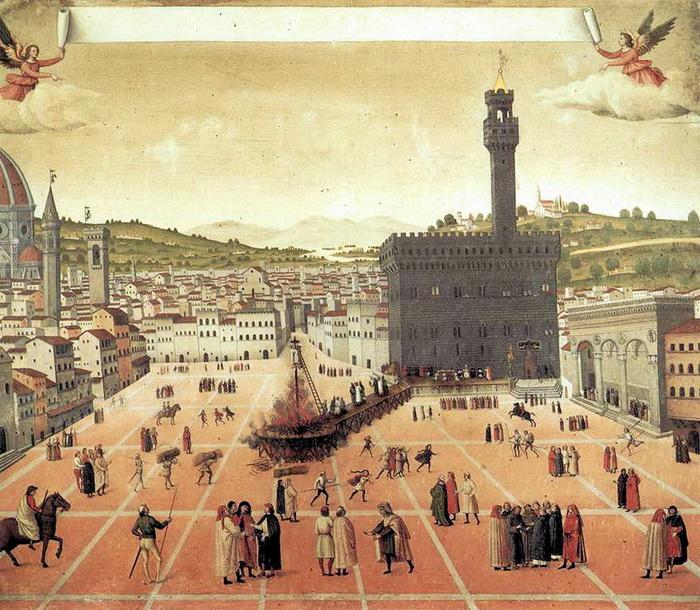 Казнь Савонаролы на площади Синьории, работа неизвестного художника