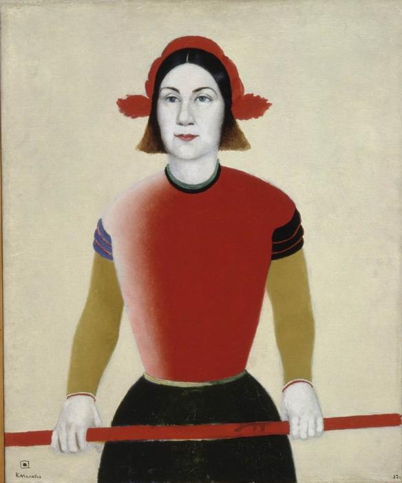 К. Малевич. Девушка с красным древком. В левом нижнем углу - подпись художника