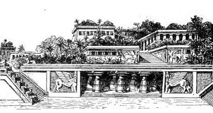 В начале XX века была создана такая схема висячих садов Вавилона