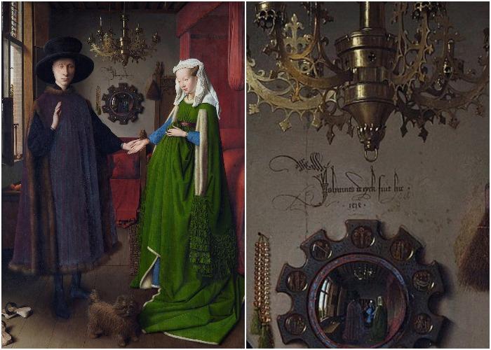 «Портрет четы Арнольфини» с подписью ван Эйка