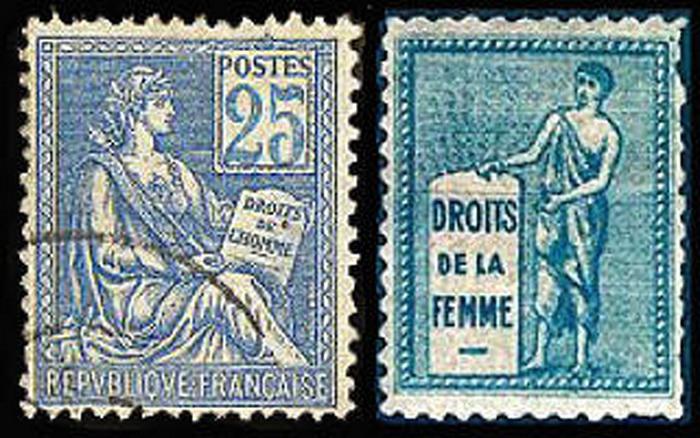 Марка суфражисток (справа)