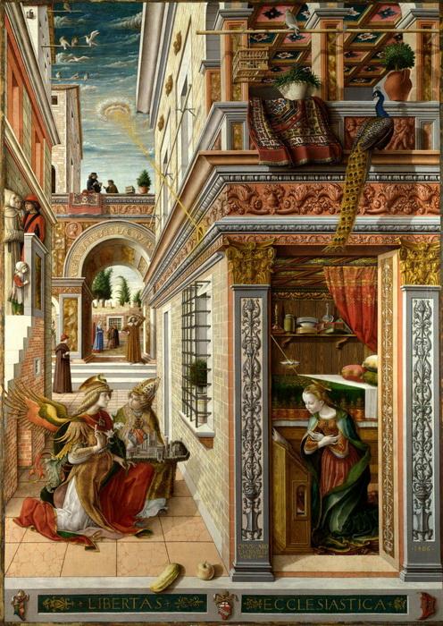 В эпоху Ренессанса пейзажу отводилась роль фона, как на картине Карло Кривелли «Благовещение»