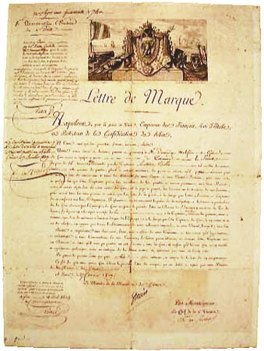 Каперы получали специальный документ, подобное практиковали и французы