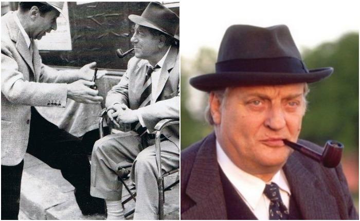 Слева - Сименон и Жан Габен на съемках фильма о Мегрэ, справа - Брюно Кремер в роли комиссара