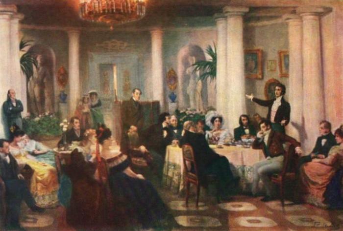 На то, как проходили вечера в доме графини де Сиркур, оказывали влияние воспоминания о салоне Зинаиды Волконской, которые Хлюстина посещала в юности