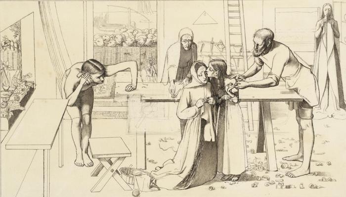 """Эскиз Дж.Э. Милле к картине """"Христос в родительском доме"""""""