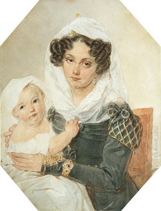 Мария Волконская с сыном Николаем