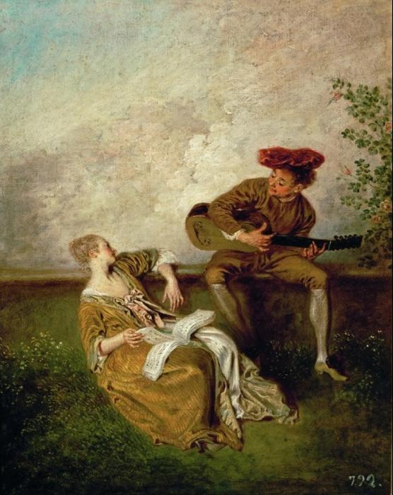 А. Ватто. «Гитарист и молодая дама»