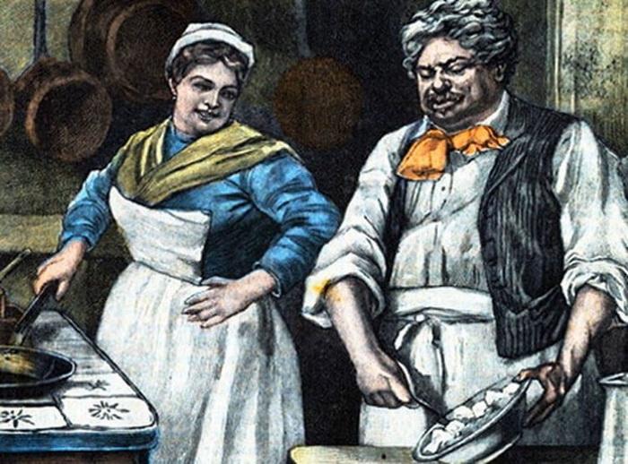 Александр Дюма-отец если и нуждался в кухарке, то скорее как в помощнице, сам прекрасно справляясь с приготовлением блюд