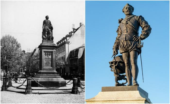 Слева - памятник Дрейку в немецком Оффенбурге, уничтожен нацистами в 1939 г.; справа - памятник в Плимуте