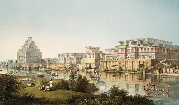 А так художник О.Г. Лейярд увидел древнюю Ниневию, которая тоже называется в числе мест расположения висячих садов