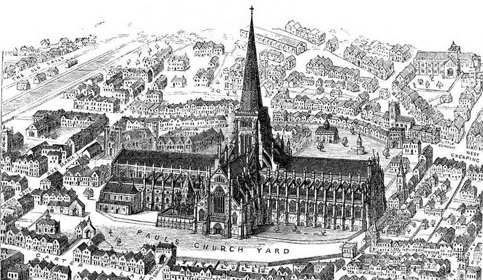 Собор святого Павла, сгоревший при пожаре 1666 года