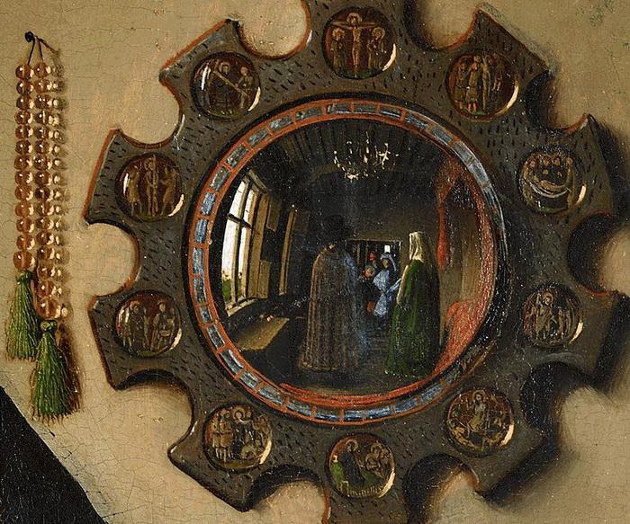 Фрагмент картины - зеркало, где отражаются фигуры хозяев и двух наблюдателей