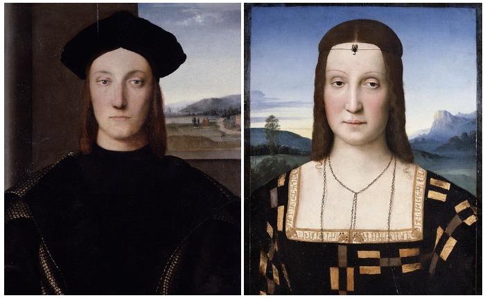Герцог Урбинский Гвидобальдо де Монтефельтро и его жена Елизавета Гонзага