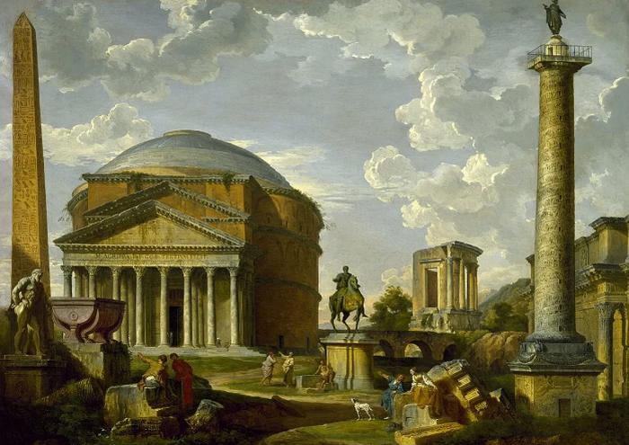 Дж. П. Панини. Фантастический вид с Пантеоном и другими памятниками Древнего Рима