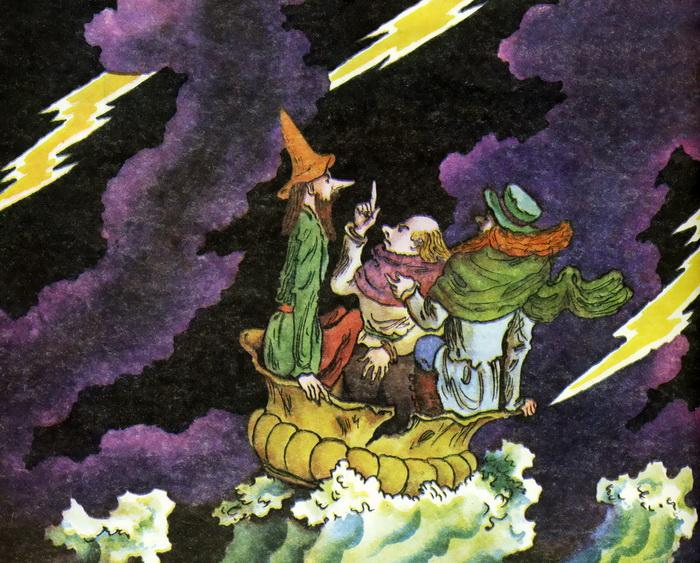 "Фрагмент иллюстрации В.М. Конашевича к стихотворению С.Я. Маршака ""Три мудреца"""