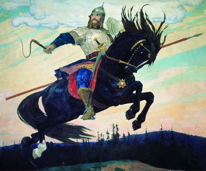 В. Васнецов. Богатырский скок. Третий раз коней купали в росе на Ильин день – 20 июля (2 августа)