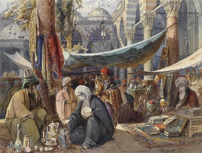 Стамбульский базар на картине А. Прециози полон птиц