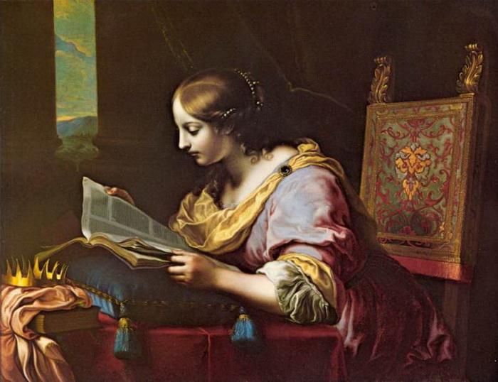 К. Дольчи. Святая Екатерина читает книгу