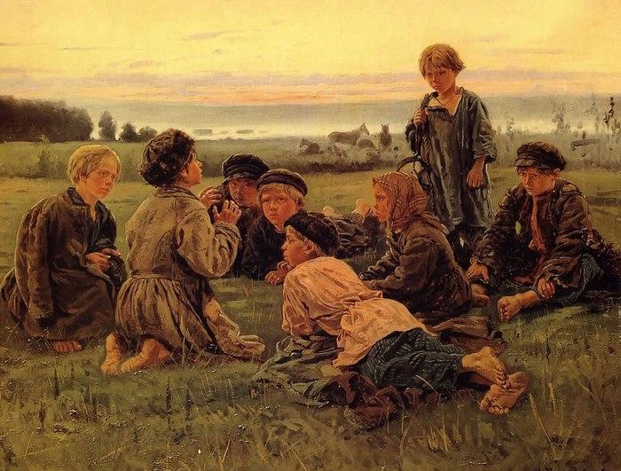 Владимир Маковский. Крестьянские мальчики в ночном стерегут лошадей