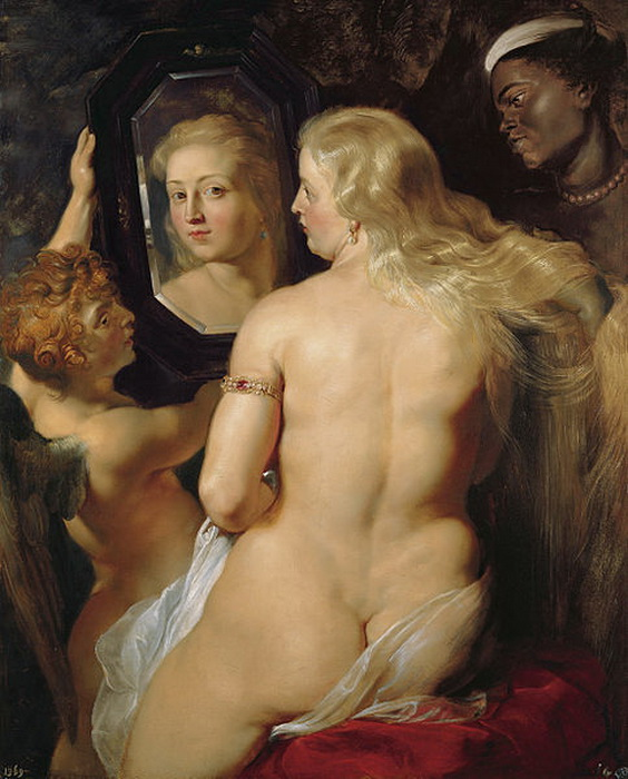 """На картине Рубенса демонстрируется популярный в искусстве прием """"эффект Венеры"""", когда человек перед зеркалом смотрит не на свое отражения, а на зрителя"""