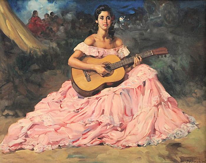 Ф.Р. Клемент. Девушка с гитарой