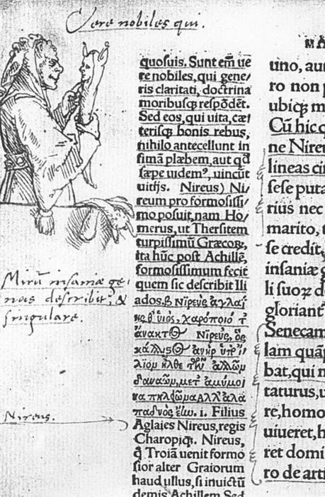 Страница из первого издания трактата «Похвала глупости» с иллюстрациями художника Ганса Гольбейна