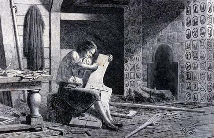 М. Клодт. Петр I за изготовлением руля