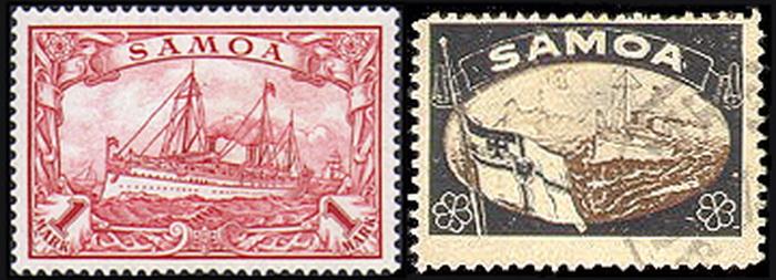 Марка серии «Утраченные территории» (справа) рядом с официально выпущенной почтовым ведомством (слева)