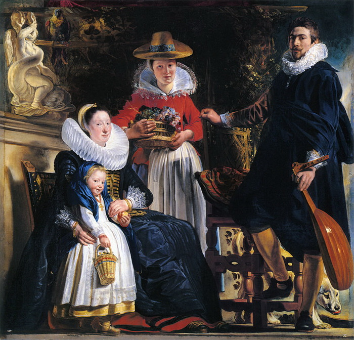 Я. Йорданс. Автопортрет с женой и дочерью Елизаветой
