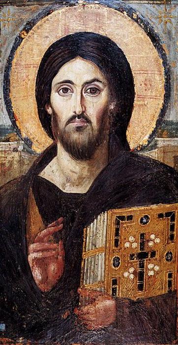 Двоеперстие на иконе VI века