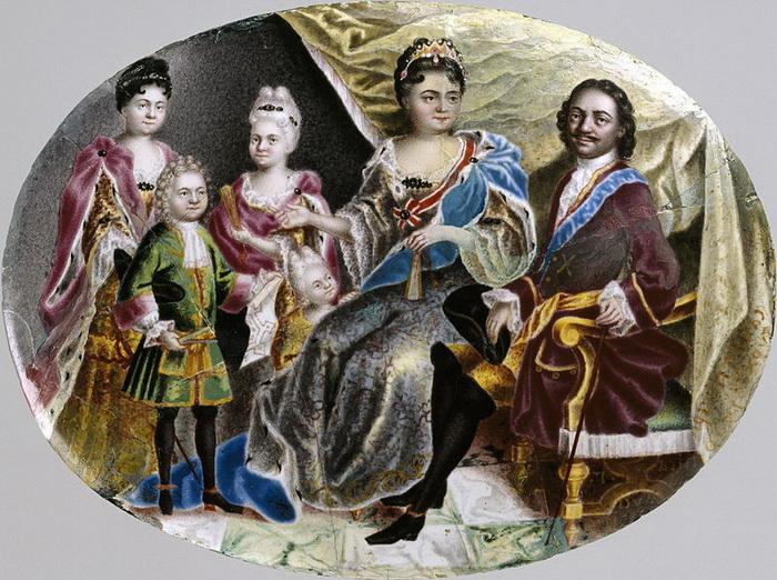 Миниатюра времен Петра I: Петр с Екатериной, дочерьми и внуков Петром Алексеевичем