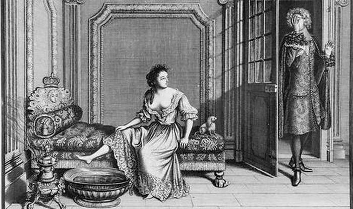 Н. Базен. Женщина, принимающая ванну в своей комнате в Версале (гравюра)