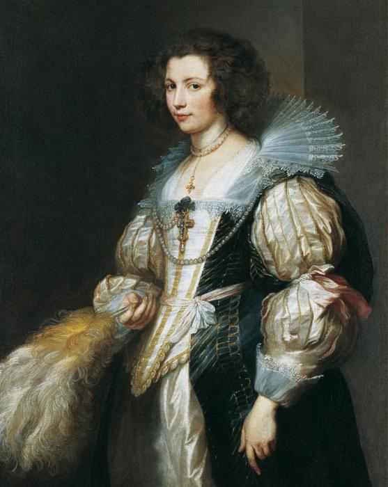 Прическа «тортье» на даме с портрета кисти Ван Дейка