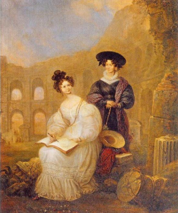 Анастасия с матерью перед Колизеем. Работа неизвестного художника