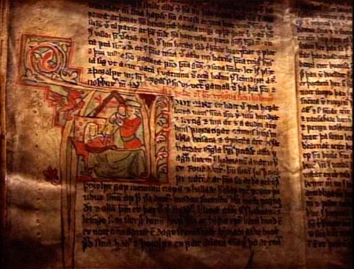 Рукопись саги, XIII в.