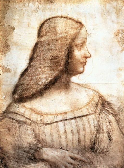 Набросок, сделанный да Винчи для портрета Изабеллы д'Эсте