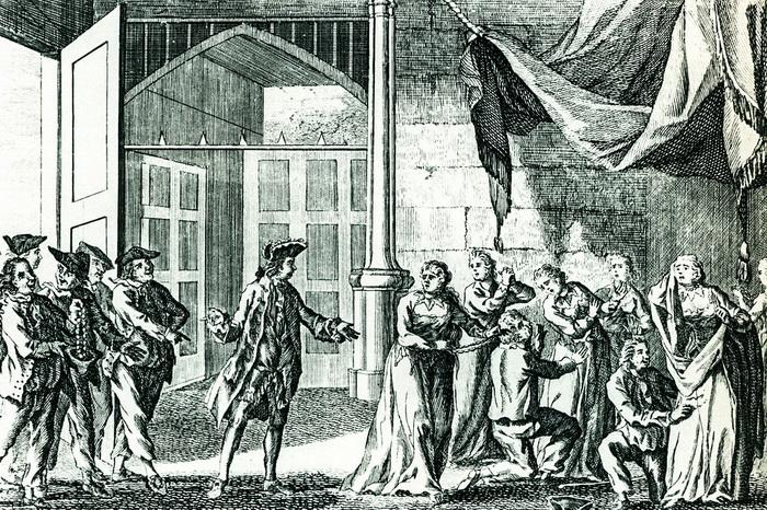 Капитан Вудс Роджерс обыскивает испанских женщин в поисках драгоценностей