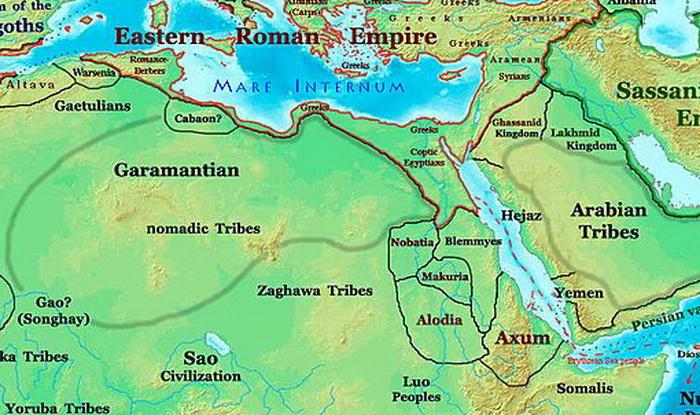 Территория гарамантов незадолго до заката их истории. Известно, что уже ко второму веку нашей эры площадь этого государства превышала 180 тысяч кв. км