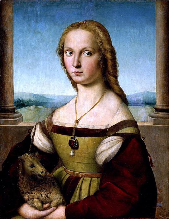 Рафаэль Санти. «Дама с единорогом». Примечательно, что сначала на месте единорога - символа чистоты - была написана собака - символ верности. По каким-то причинам художник изменил замысел