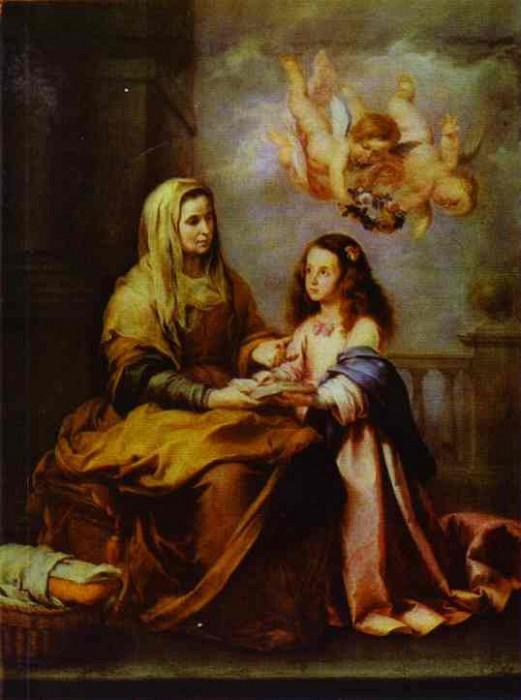 На картине «Детство Марии» Мурильо изобразил свою старшую сестру Анну, заменившую ему мать