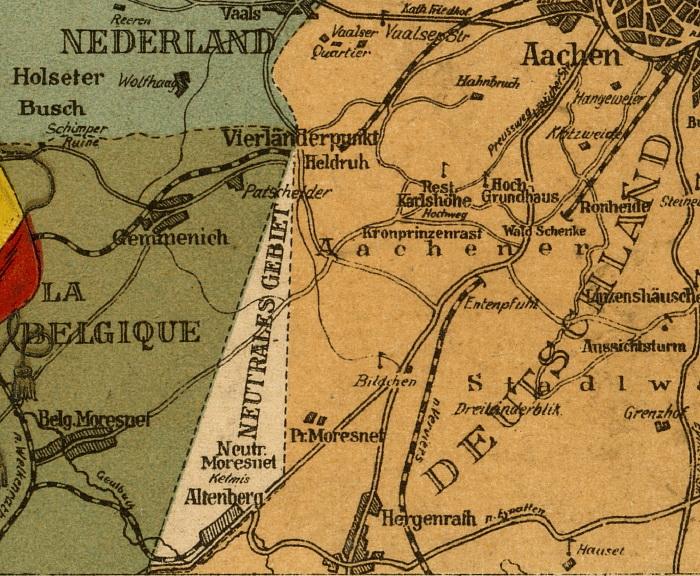 На карте Нейтральный Мореснет напоминал по форме треугольник, вдоль основания которого проходила дорога из Аахена в Льеж