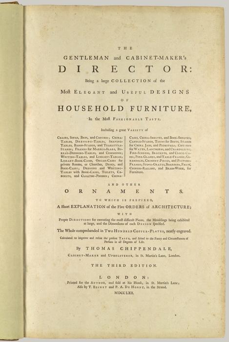 Книга Чиппендейла имела огромный успех, она переиздавалась в 1759 и 1762 годах