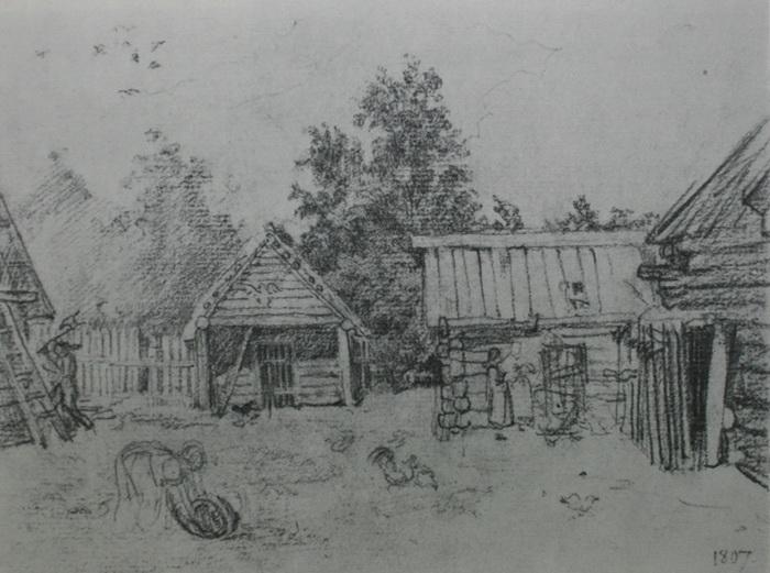 О. Кипренский. Деревенский дворик (рисунок в альбоме)
